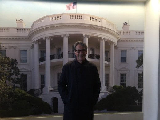 While in Washington I stopped by the White House to see the President... but missed him. (This is in front of a mural).
